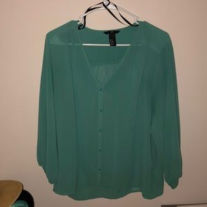 Emerald jade green chiffon blouse